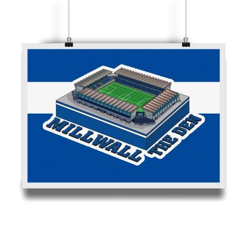 Millwall The Den Hallowed Turf Football Stadium Illustration Print