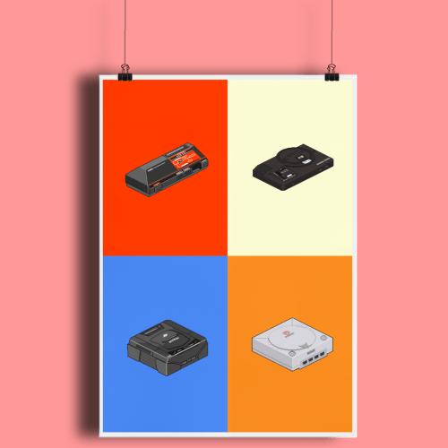 Pixel Art Game Consoles Sega Saturn Master System Megadrive Genesis Dreamcast Fine Art Print A2