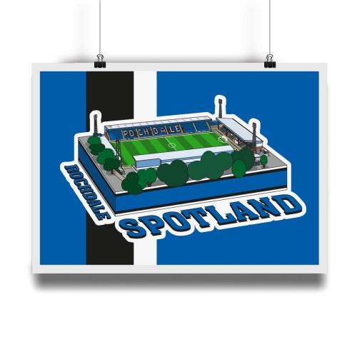 Rochdale Spotland Hallowed Turf Football Stadium Illustration Print