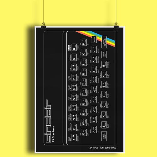 Sinclair ZX Spectrum Retro Computer Hardware Fine Art Print A3