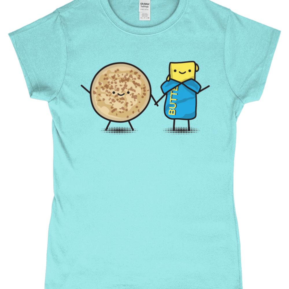 Butter and Crumpets Cute British Food Women's T-Shirt Light Blue