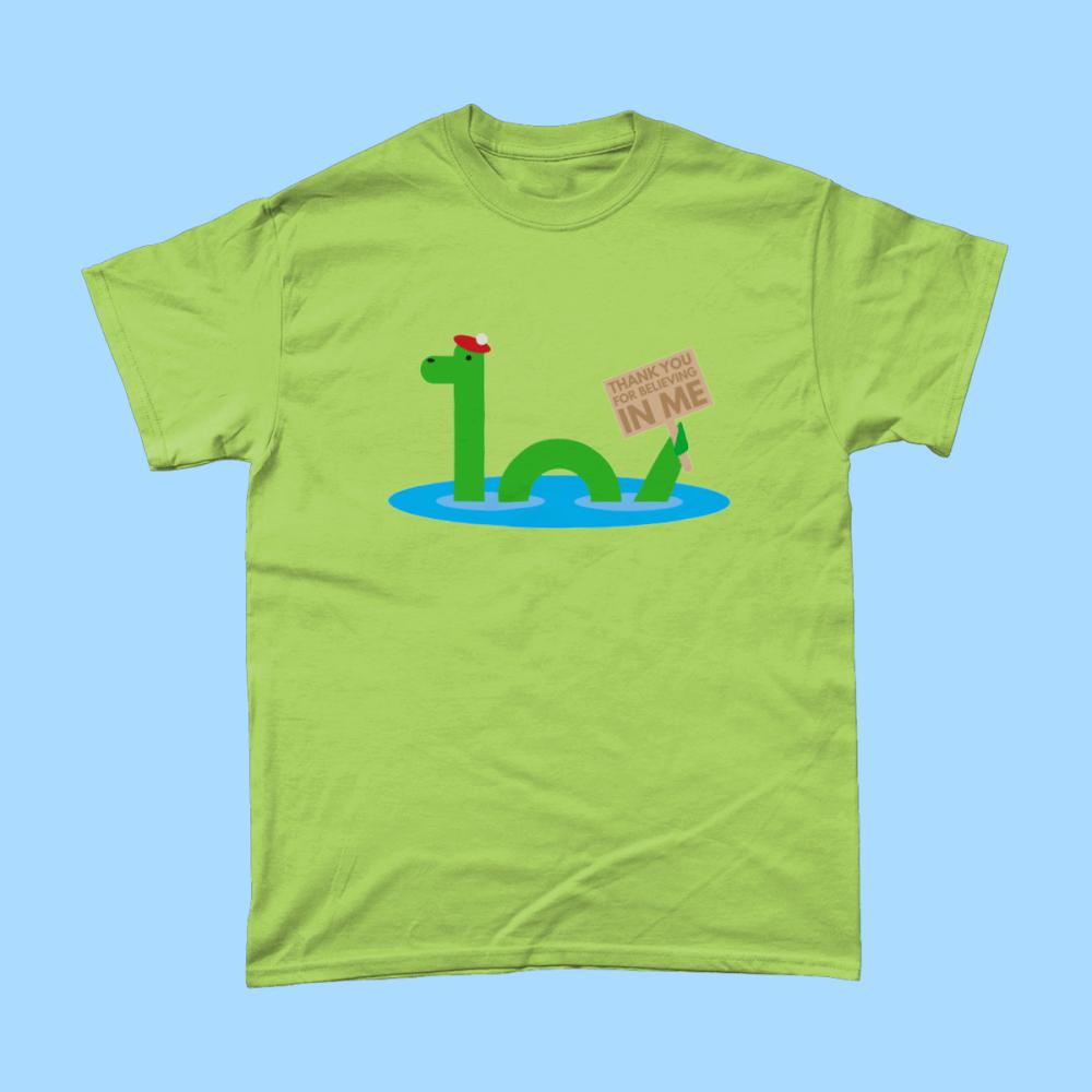 Loch Ness Monster Nessie Scotland Thanks for Believing Men's T-Shirt Kiwi