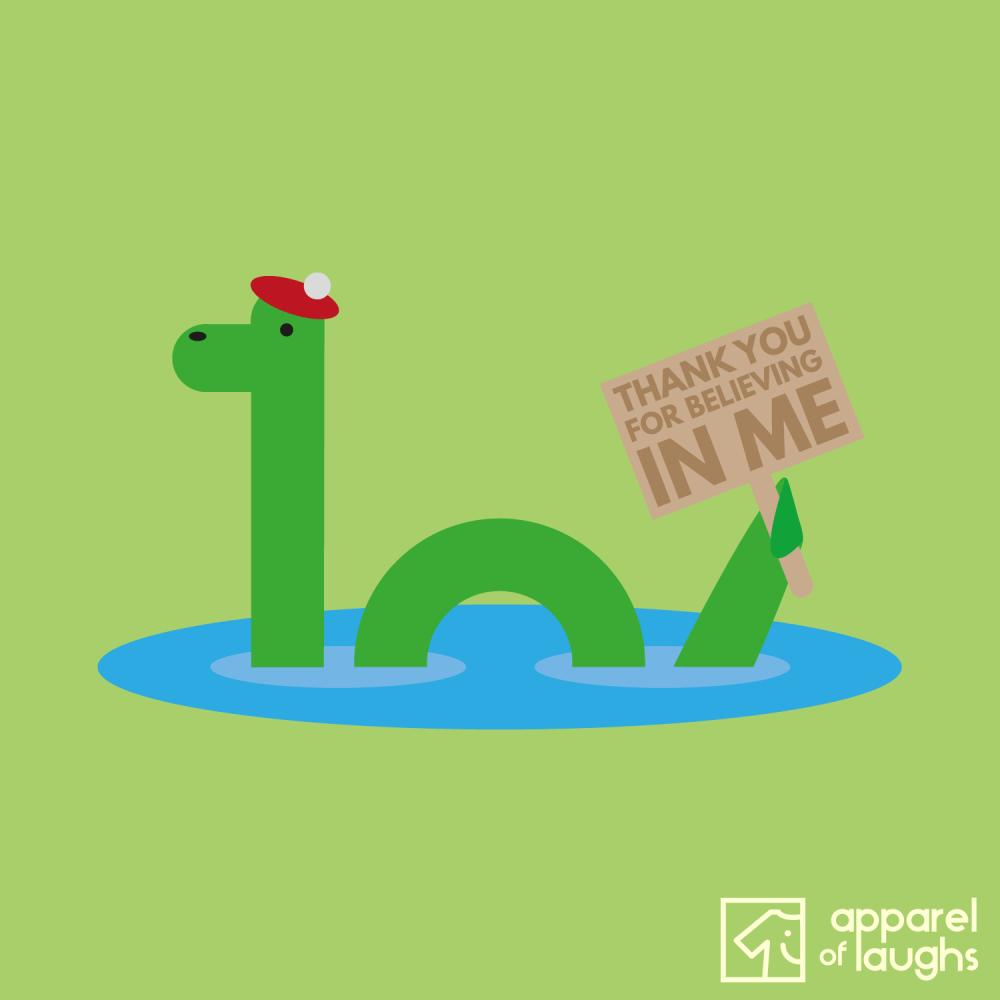 Nessie Loch Ness Monster Thanks For Believing Scotland Men's T-Shirt Design Kiwi