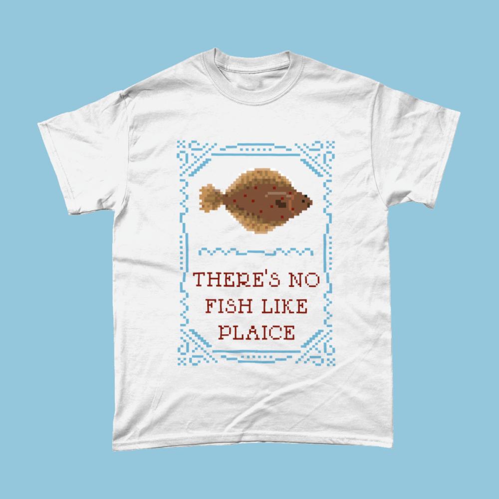 No Fish Like Plaice Cross Stitch Sampler Men's T-Shirt White