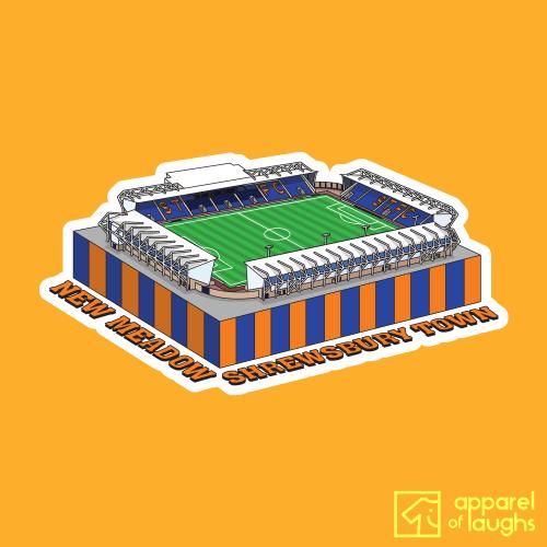 Shrewsbury Town New Meadow Football Stadium Illustration T-Shirt Design Gold