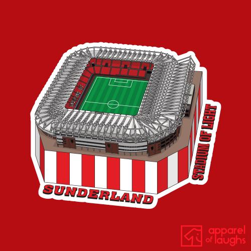 Sunderland Stadium of Light Football Illustration T-Shirt Design Red