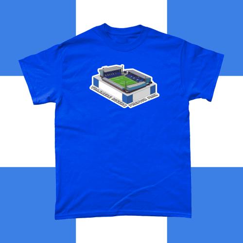 Tranmere Rovers Prenton Park Football Stadium Illustration Men's T-Shirt Royal Blue
