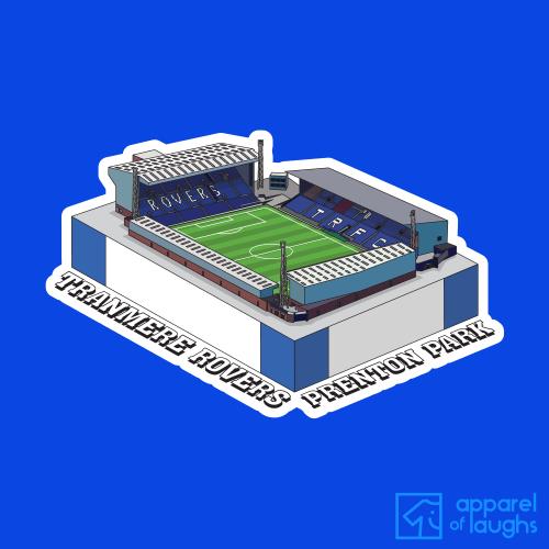 Tranmere Rovers Prenton Park Football Stadium Illustration T-Shirt Design Royal Blue