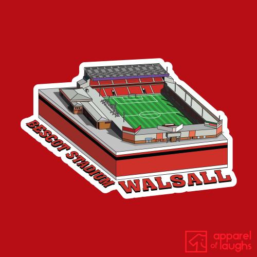 Walsall Bescot Stadium Football Illustration T-Shirt Design Red