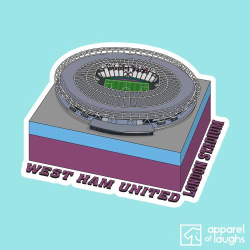West Ham United London Stadium Football Illustration T-Shirt Design Light Blue