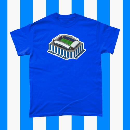 Wigan Athletic DW Stadium Football Illustration Men's T-Shirt Royal Blue
