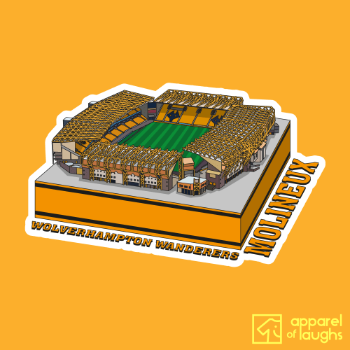 Wolverhampton Wanderers Wolves Molineux Football Stadium Illustration T-Shirt Design Gold