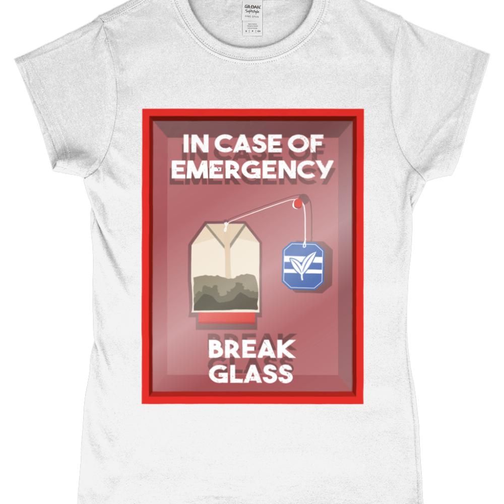 In Case of Emergency Break Glass Cup of Tea Bag Women's T-Shirt Design White
