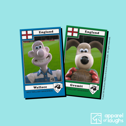 Wallace and Gromit England Football Stickers Aardman Women's T-Shirt Design Light Blue