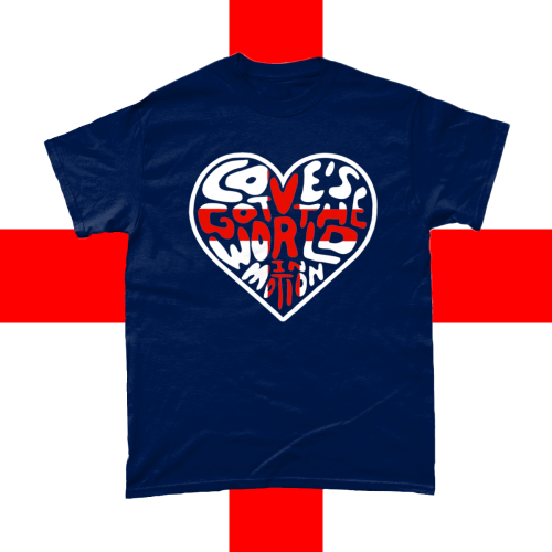 Love's Got the World In Motion England Football Song Euros World Cup T-Shirt Men's Design Navy