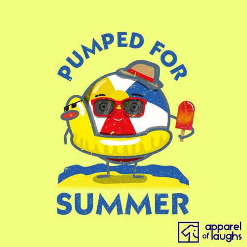 Pumped for Summer T-Shirt British beach ball Men's Corn Silk