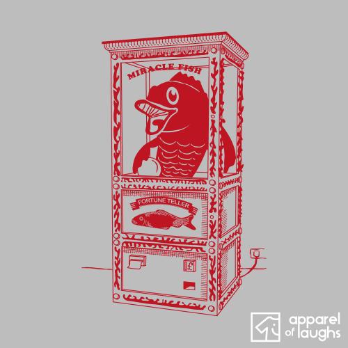 Red Fortune Teller Fish Machine British T-Shirt Men's Sports Grey
