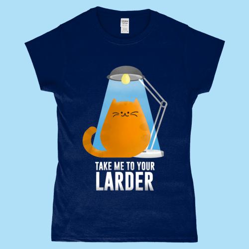 Take Me To Your Larder Alien Spaceship UFO Cat Tee Women's T-Shirt Navy