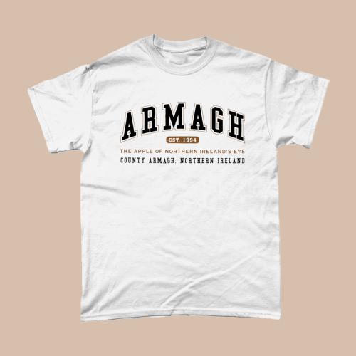 Armagh City Men's T-Shirt Women's Fashion British Places White copy