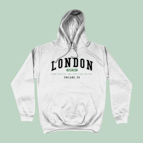 London City Men's Apparel Women's Hoodie British Places White