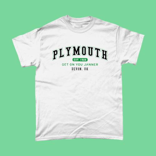 Plymouth City Men's T-Shirt Women's Fashion British Places White copy