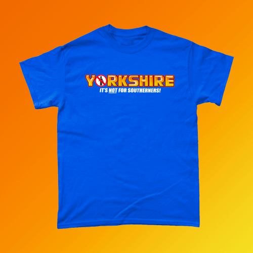 Yorkie Chocolate Yorkshire T-Shirt British Apparel of Laughs Royal Blue