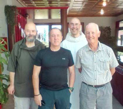 The Team arrives in France Father Giles, Marty Wilkin, Brother Michael, Robbie Young