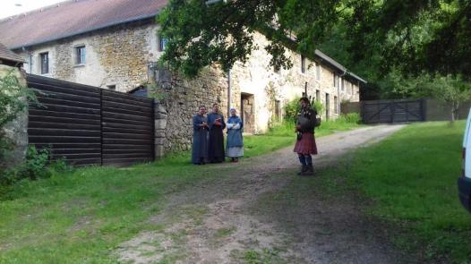 Pilgrim and piper, Iain MacGillivray, entertains along the way