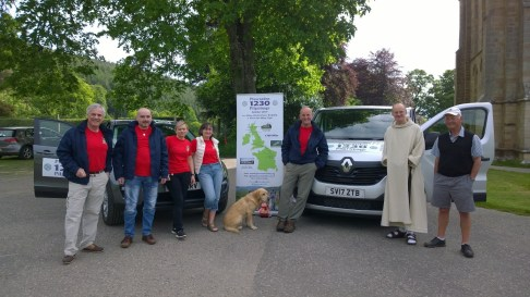 Pilgrimage Support Team departs Pluscarden Abbey