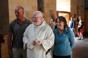 Father Abbot with Maria Byron and Al Monkman who both walked all 13 weeks of the pilgrimage