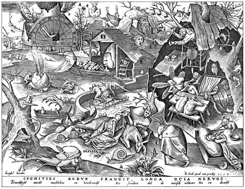 Pieter Bruegel the Elder: The Seven Deadly Sins or the Seven Vices – Disidia (acedia)