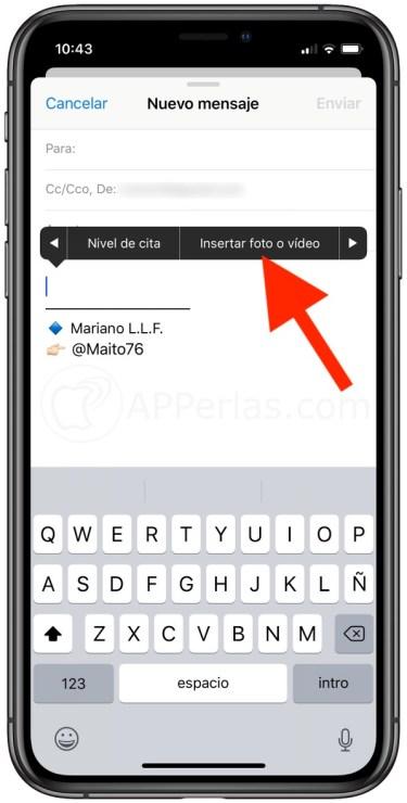 Insertar foto o vídeo en mail