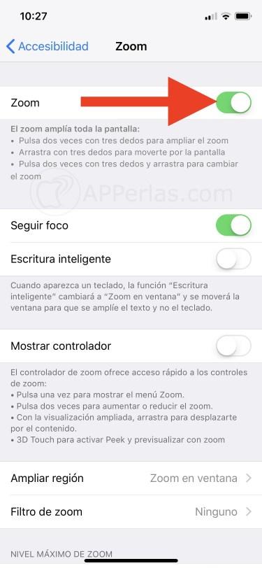 Activa o desactiva la opción ZOOM del iPhone