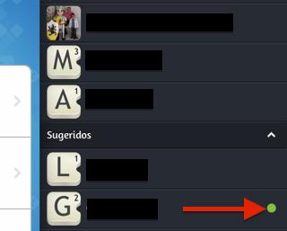 Los círculos de colores en Apalabrados, junto al nombre de usuario