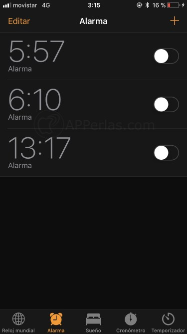 Interfaz de la alarma del iPhone