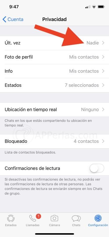 Última vez de conexión en Whatsapp