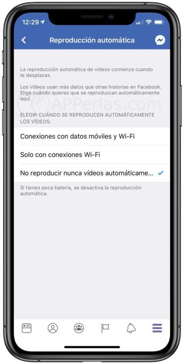 Desactivar la reproducción de vídeos automática en Facebook