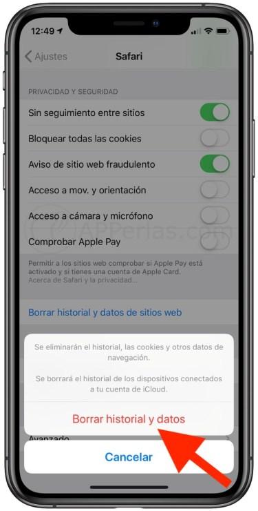 Pulsa para borrar el historial y datos en safari iOS