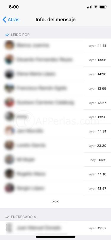 Mensaje leído por componentes de un grupo de WhatsApp