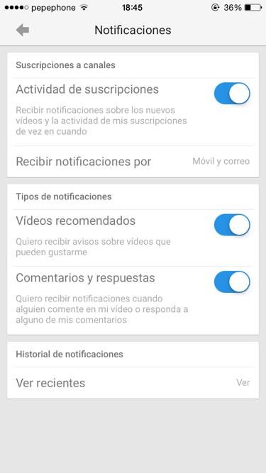 Youtube vídeo vertical y notificaciones