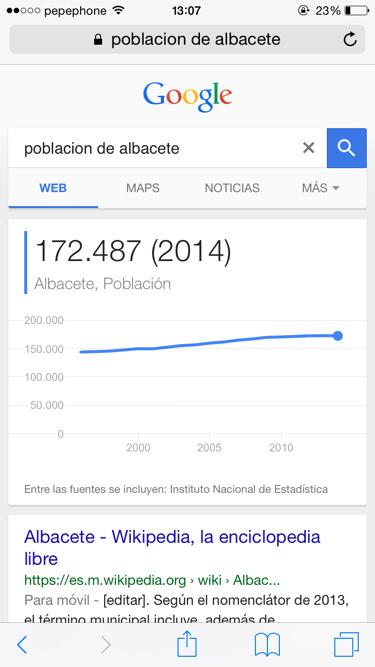 Funciones de google población en ciudades