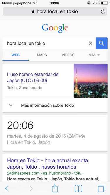 Funciones de google hora local