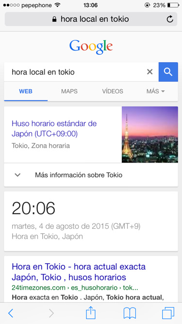 Funciones de google hora local