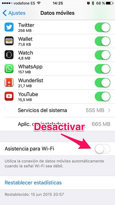 Consumo de datos móviles en iOS 9 2
