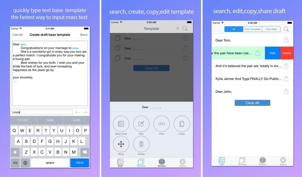 Template keyboard iPhone