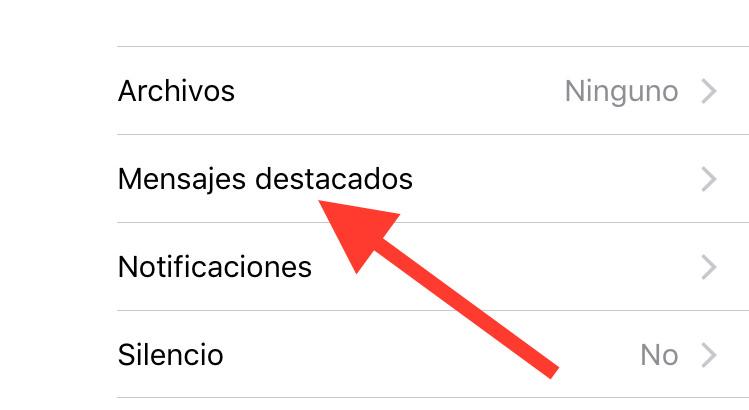 Mensajes destacados de Whatsapp iOS