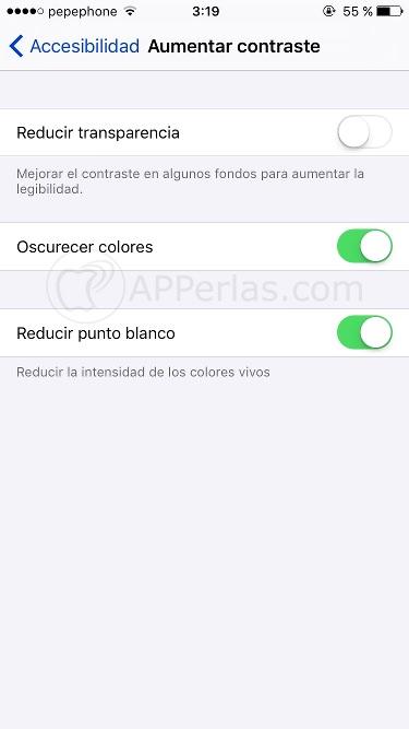 Reducir luminosidad en pantalla del iPhone