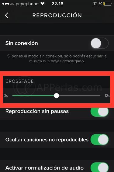 Función Crossfade de Spotify