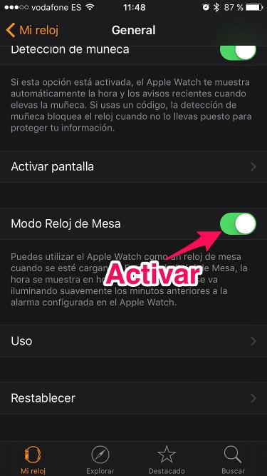 reloj de mesa en el Apple Watch 1