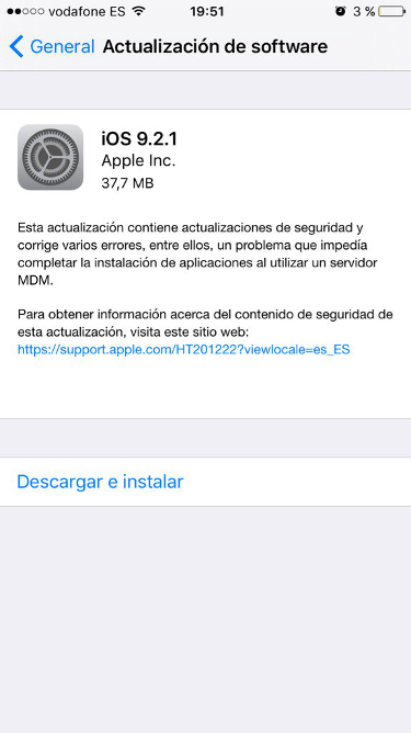 iOS 9.2.1 iPhone